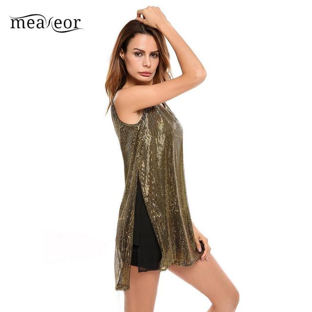 Meaneor Sleeveless Casual O-Neck Women Tank Top Sequined Loose Women Pullover Blouse Tops Summer Female Sexy Party Top Vest