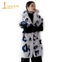 LVCHI New brand High end Waistcoat for women Velvet Mink Vest real natural Mink vests Medium Print new style women clothes