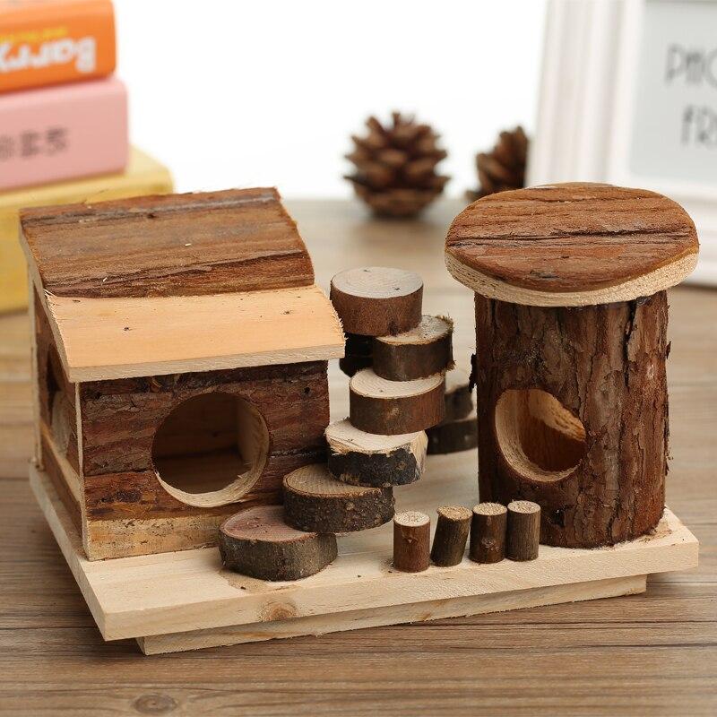 Hamster log syrische hamster speelgoed producten pet park stadion massief hout platform houten - Massief houten platform bed ...