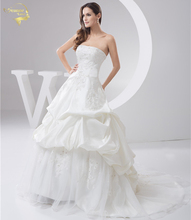 Jeanne Love 2019 New Applique Wedding Dresses Robe De Mariage Satin Bridal Gowns A Line Vestido De Novia PLUS SIZE JLOV11045