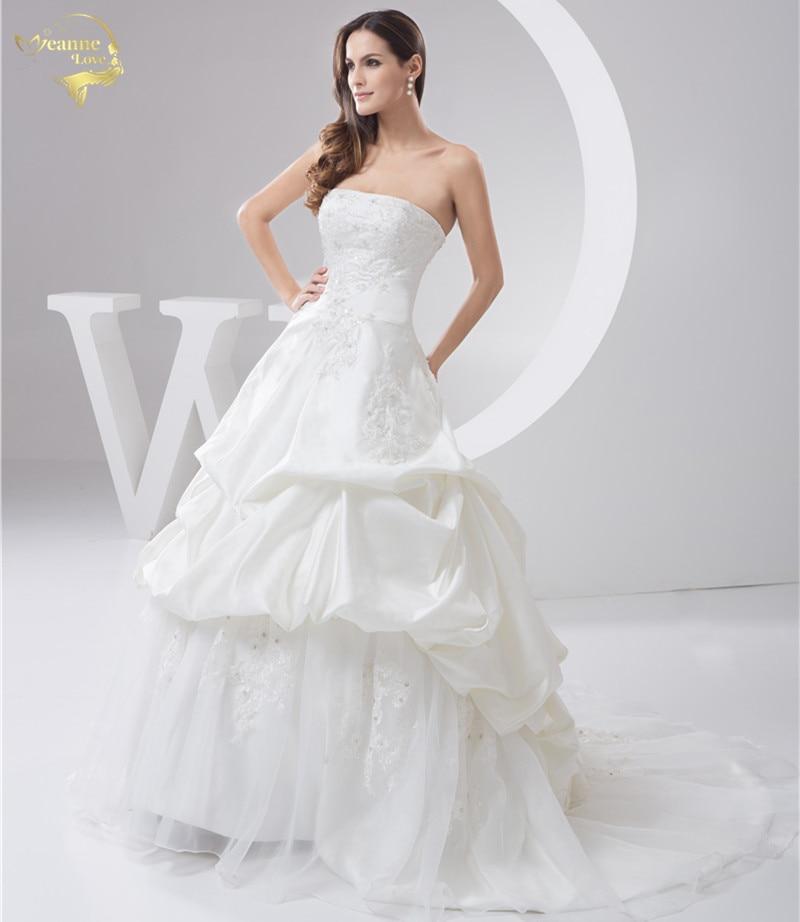 Jeanne Love 2019 Jaunas aplikācijas kāzu kleitas Robe De Mariage Satīna līgavas kleitas A līnija Vestido De Novia PLUS SIZE JLOV11045