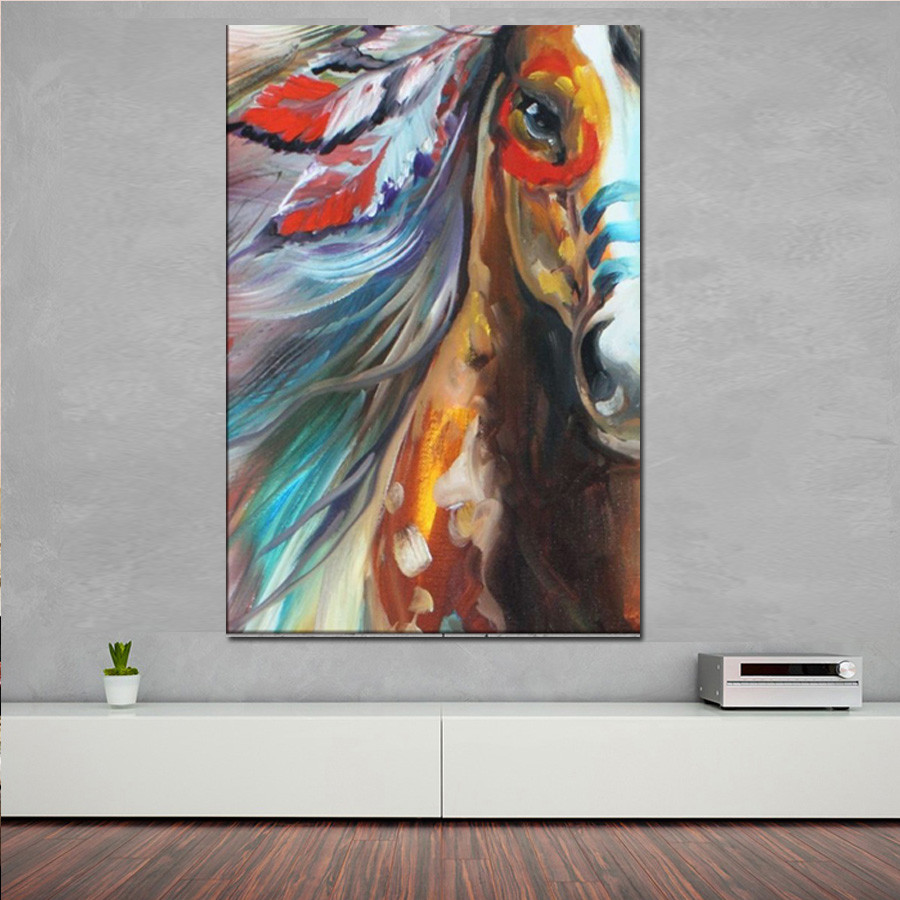 Modern hand painted horse oil paints abstract pop horse for Hand painted portraits from photos