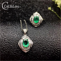 Vintage emerald jewelry set 3mm Princess Cut natural emerald ring earrings necklace pendant solid silver emerald jewelry set