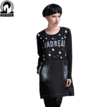 high quality Women autumn winter long-sleeved dress European street fashion stars printing dress Brands Female clothes plus size