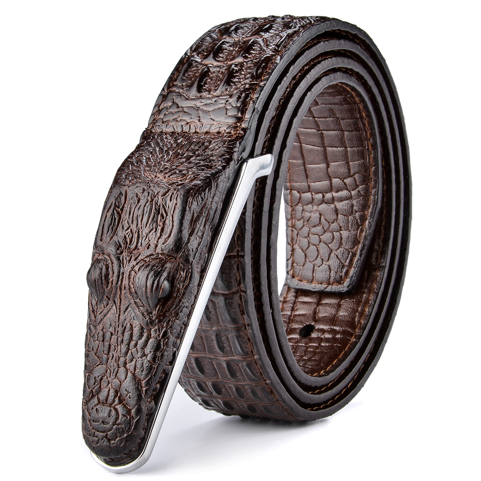 Plyesxale cinturón de cuero hombres 2018 de lujo de cocodrilo ... f4be59c50791