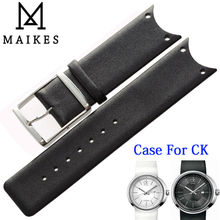 MAIKES High Quality Genuine Leather Watch Band Black White Watchband Case For CK Calvin Klein KOH23101 KOH23220 KOH23307