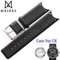 Maikes hochwertigem echtem leder uhr band schwarz weiß armband fall für ck calvin klein koh23101 koh23307