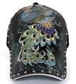 Hot Cap maré boné de beisebol Unisex rebites ilustração padrões de pavão moda em tinta snapback gorras