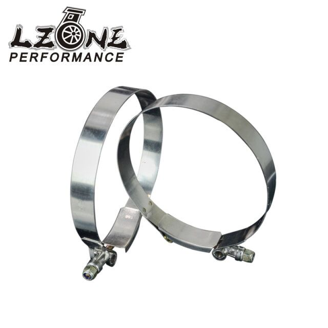 LZONE RACING - (2PC/LOT) 4.5 CLAMPS (117-125)STAINLESS 304 SILICONE TURBO HOSE COUPLER T BOLT CLAMP KIT HIGH QUALITY JR5259