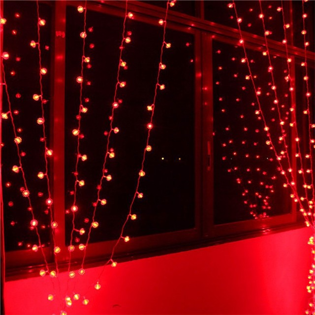 6 * 1m 256 bulbs Red lantern LED Curtain string lights Christmas lights  Holiday party home room decoration lamps indoor lighting - 6 * 1m 256 Bulbs Red Lantern LED Curtain String Lights Christmas