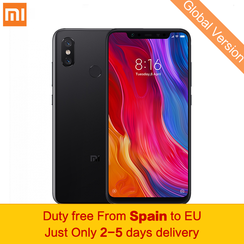 "Global Version Xiaomi Mi 8 Mobile Phone 6GB 64GB Snapdragon 845 Octa Core Dual-band GPS 6.21"" 2248 x 1080 FHD AI Dual Camera NFC"