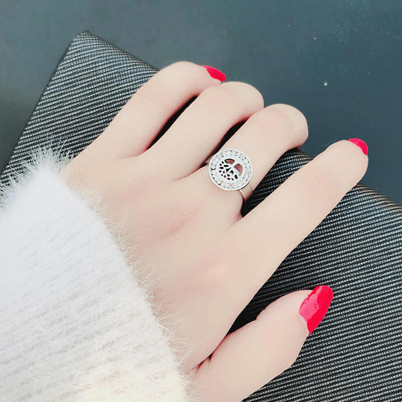 DOTIFI 316L נירוסטה טבעות לנשים מעגל Cf זירקון עצי אירוסין חתונה טבעת תכשיטים