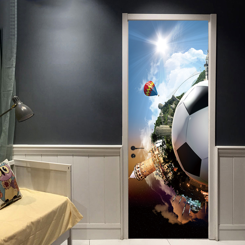 Creative Cartoon Sports Soccer Ball Football Kids Boys Bedroom Door Sticker Wallpaper Wall Sticker Living Room Home Decoration