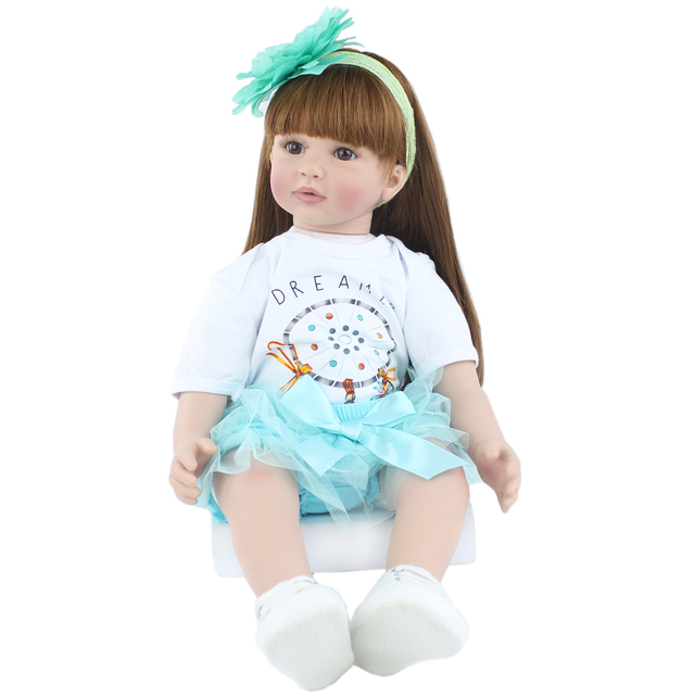 60cm Soft Silicone Reborn Baby Doll Toys For Girl Vinyl Princess Toddler Babies Like Alive Bebe