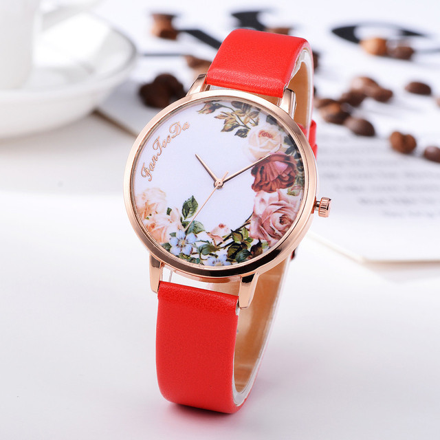 clock women brand Women Bracelet Watch Contracted Rose Gold Leather WristWatches