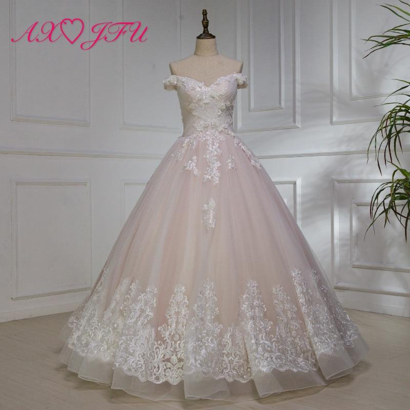 AXJFU Роскошные принцессы розовый кружевное розовое торжественное платье Винтаж Лодка шеи цветок бисером розовый торжественное платье 100% ре...