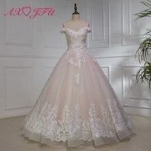 AXJFU di lusso della principessa pizzo rosa rosa abito da sposa vintage con  scollo a barchetta a814fe17e7e7