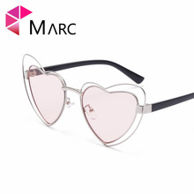 MARC Heart Shape Sunglasses Women Hollow Alloy Frame Shades Ladies Luxury Brand Eyewear Oversize Pink Mirror