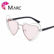 купить MARC Heart Shape Sunglasses Women Hollow Alloy Frame Shades Sunglasses Ladies Luxury Brand Heart Eyewear Oversize Pink Mirror дешево