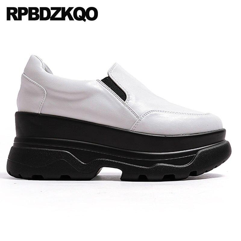 forme Chaussures Ascenseur Chine Noir Printemps Creepers Automne Bout Mode Épaisse De Muffin Antidérapant Plate 2018 Métal blanc Femmes Rond Semelle Noir En 7qAOCwxf