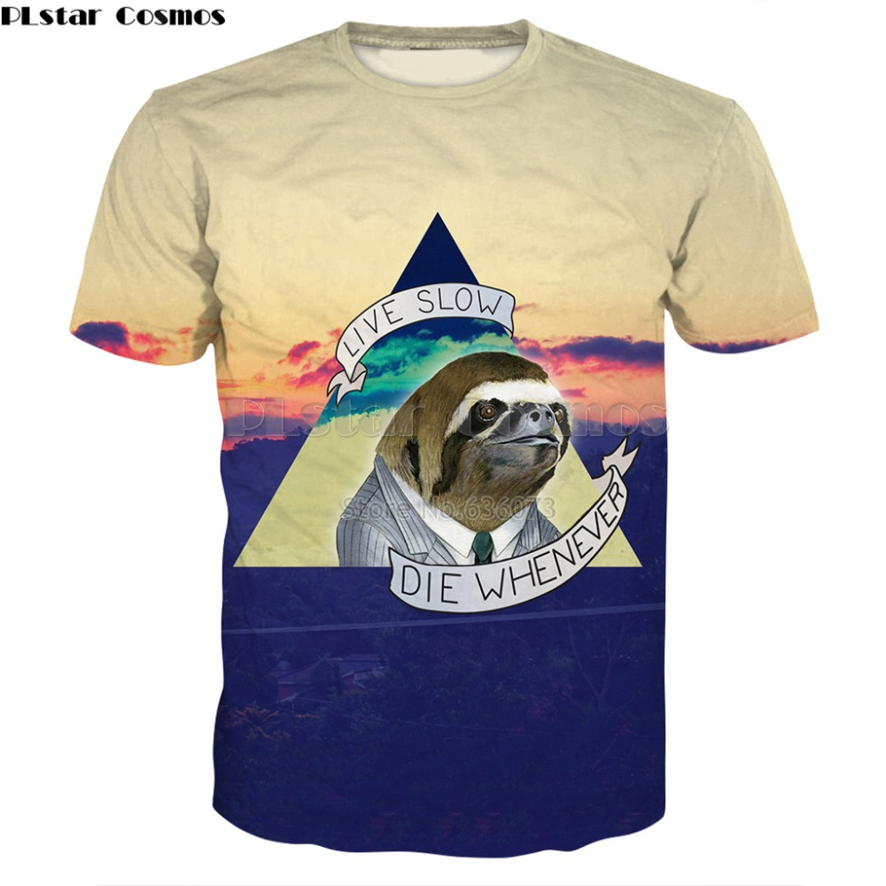 PLstar Cosmos envío de la gota 2018 verano moda hombres camiseta animal perezoso Top 3D imprimir camiseta casual Cool t camisas