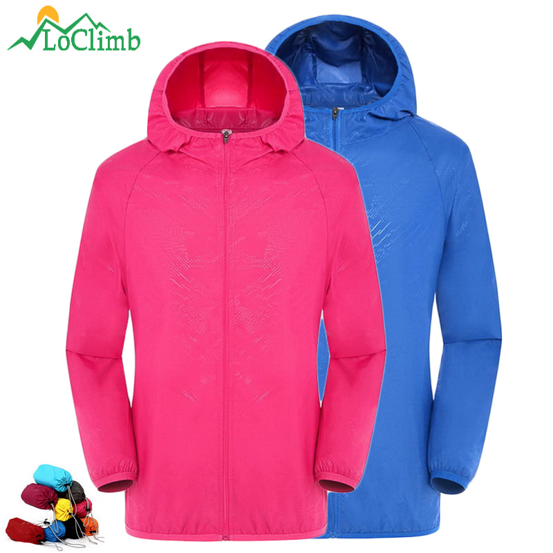 LoClimb 4XL Anti-Uv Camping Hiking Jacket Women Men Summer Outdoor Sport Coat Climbing Trekking Cycling Hooded Jackets,AM033