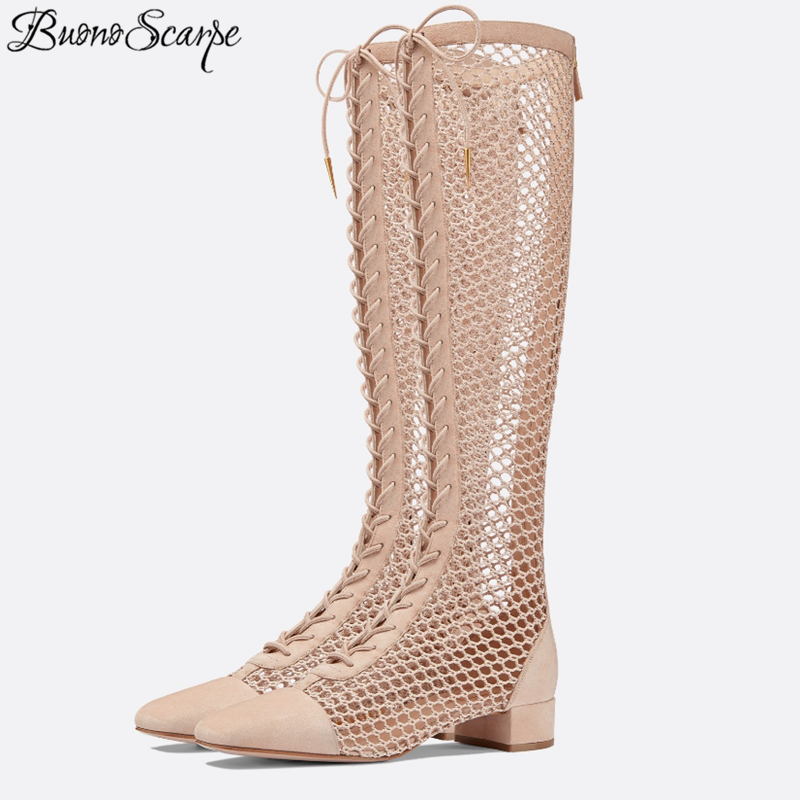 ใหม่มาถึง 2019 ตาข่ายข้ามผูกรองเท้าฤดูร้อนกลับซิปตาข่าย Botas Mujer ดูผ่านผู้หญิง Lace Up รองเท้าออกแบบรองเท้า-ใน รองเท้าบู๊ทสูงระดับเข่า จาก รองเท้า บน   1