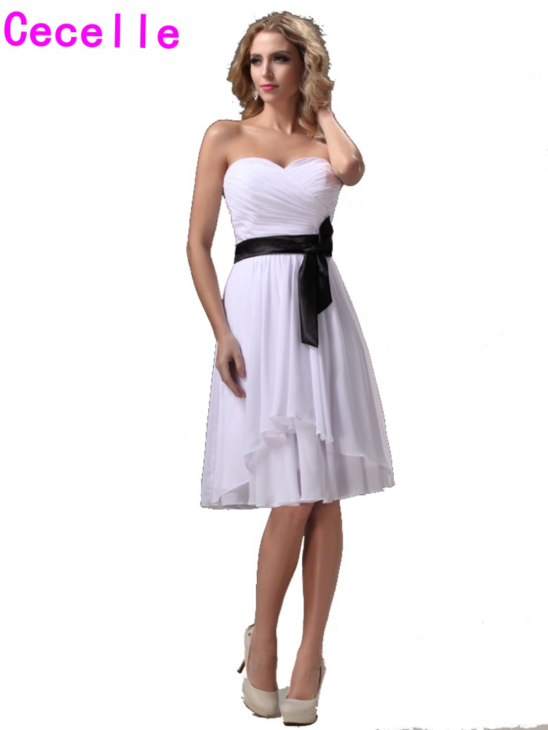 Black And White Short Bridesmaid Dresses Gowns Sweetheart A-line Knee Length Pleats Chiffon Beach Wedding Party Gowns Reception Wedding Party Dress Bridesmaid Dresses