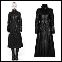 PUNK RAVE Women Steampunk Military Uniform Long Coat Stage Perform Costume Puleather Long Trench Coat for Women
