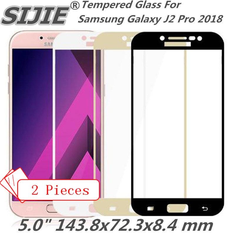 Galleria fotografica 2pcs Full cover Tempered Glass For Samsung Galaxy J2 Pro 2018 Grand Prime J2PRO Screen protective black White 5 inch smartphone