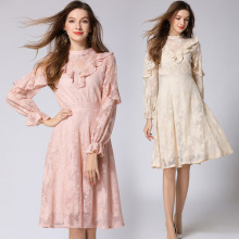 2018 Fall New Long-sleeved Ruffled Midi Temperament Lady Openwork Embroidered Long Lace Dress vestidos