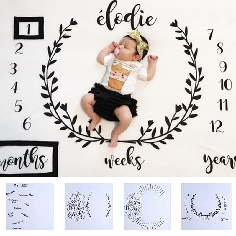 Children Blankets Infant Baby Milestone Blanket Photo Photography Prop Letter Backdrop Cloth To Take Pictures
