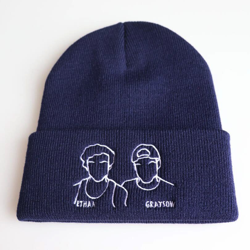 DOLAN TWINS Ethan Grayson Autumn men MEOW Cap Casual Hip Hop Hats Knitted   Skullies     Beanies   Hat Warm Winter Hat For Women   Beanie