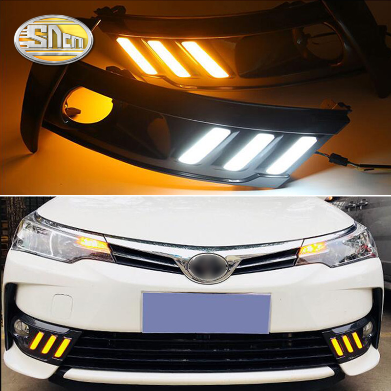 For Toyota Corolla Altis 2017 2018,SNCN Yellow Turning Signal Waterproof Car DRL 12V LED Daytime Running Light Fog Lamp Hole new halogen fog light lamp with wires and button for toyota corolla 2014 altis