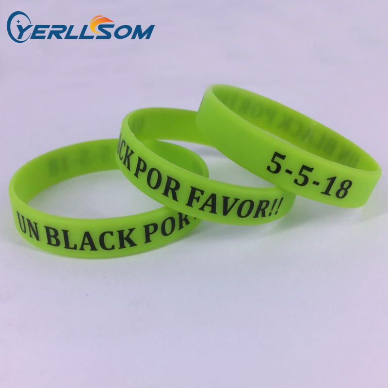 YERLLSOM 100pcs lot High quality cusotom lime green silicone bracelets impint personal message for events SP062406