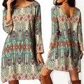 Женщины Винтаж Национальный Стиль Свободные Длинным Рукавом Платье Многоцветный Платье