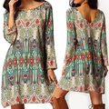 Women Vintage National Style Loose Long Sleeve Dress Multicolor Casual Dress
