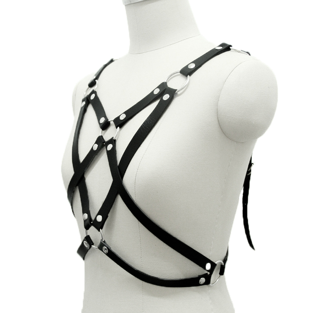 Gothic Harness Sexy Fashion Punk PU Leather Harness Stars Pentagram Body Bondage Pentacle Stars Size Strapless Belts Strapless