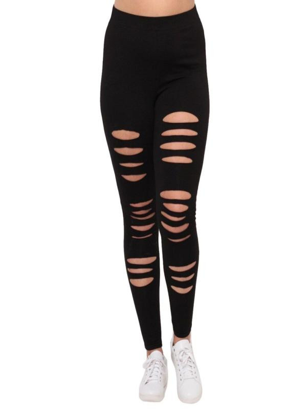Plus Size Womens Sexy   Leggings   Fitness Workout Leggins Solid Plain Black With Holes Fashion Streetwear StretchPencil Pants Femme