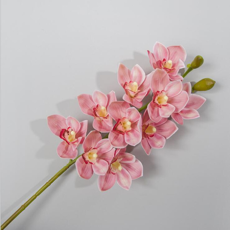 2pcs Pu Orchids Printing Effect Cymbidium Artificial Real Touch Pink Orchid For Wedding Centerpieces Home Decorative Flowers
