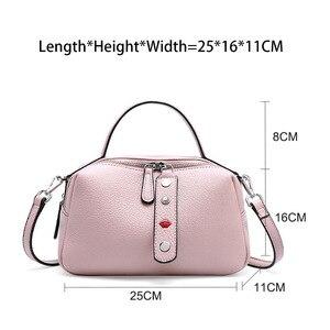 Image 5 - Zency 100% Real Cowhideหนังแฟชั่นผู้หญิงกระเป๋าCrossbodyคุณภาพสูงกระเป๋าถือไหล่กระเป๋าสีชมพูสีแดงสีดำ