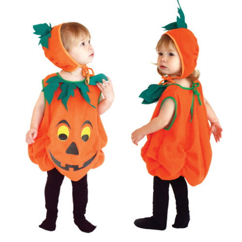 2017 New Kid Halloween clothes Toddler Boys Girls Pumpkin Costume Halloween Girl Boy Fancy Dress Outfit cosplay cloth with hat
