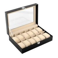 New Fashion Superior 12 Grids Black Watch Display Box Storage Showing Box Case Organizer Watch Boxes PT