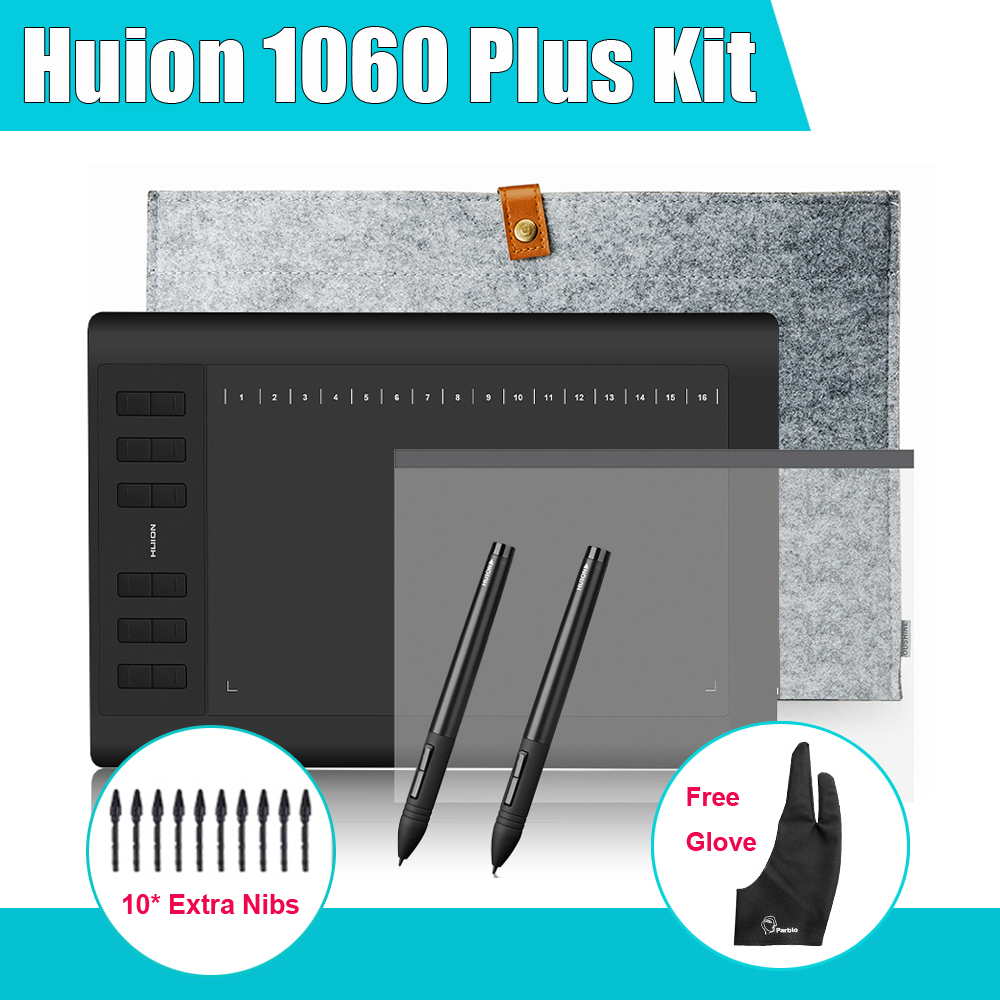 2 Pens Huion 1060 Plus Graphic Drawing Digital Tablet w/ 8G SD Card 12 Express Key + Protective Film +15 Liner Bag+Parblo Glove