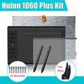 """2 plumas Huion 1060 más gráfico Tablet dibujo Digital w / 8 G tarjeta SD 12 Express tecla + película protectora + 15 """" bolsa interior + Parblo guante"""