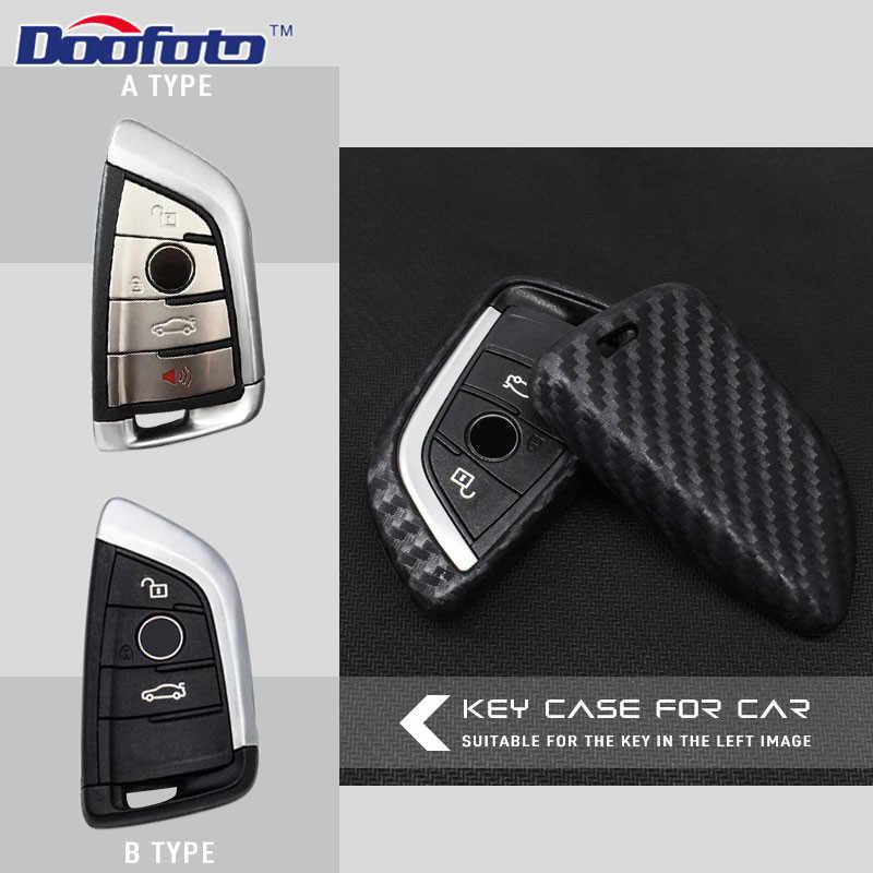 Doofoto اكسسوارات السيارات الداخلية التصميم الأسود مفتاح غطاء ألياف الكربون الحبوب السيارات قذيفة صالح ل BMW X5 X6 G30 7 سلسلة G11 X1 F48