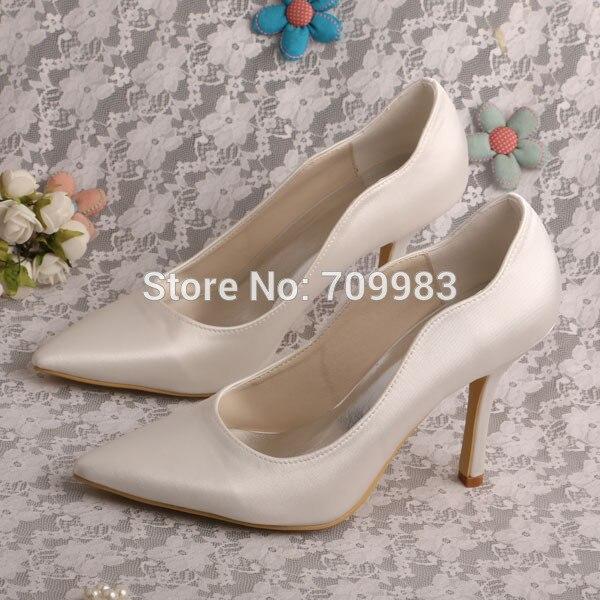 Wedopus Plain Pointed Toe High Heels Satin Ivory Women Bridal Shoes Wedding Pumps wedopus customize handmade closed toe luxury high heeled shoes for wedding ivory satin
