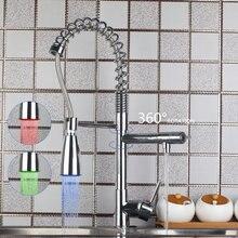 Yanksmart хром полированная латунь кухонный кран раковина бортике torneira светодиод Поворотный вытащить вниз горячей и холодной смесителя