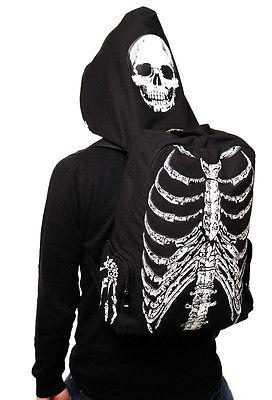 Hommes Femmes Unisexe Crâne Squelette Imprimé Sac D'école Voyage Livre Sac Gothique Punk Street Style Avec Le Chapeau À Capuche Sac Cadeau