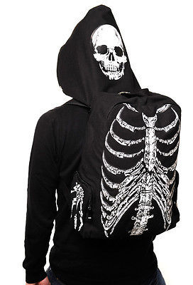 Men Women Unisex Skull Skeleton Printed Bag School Travel Book Bag Gothic Punk Street Style With Hat Hoodie Bag Gift